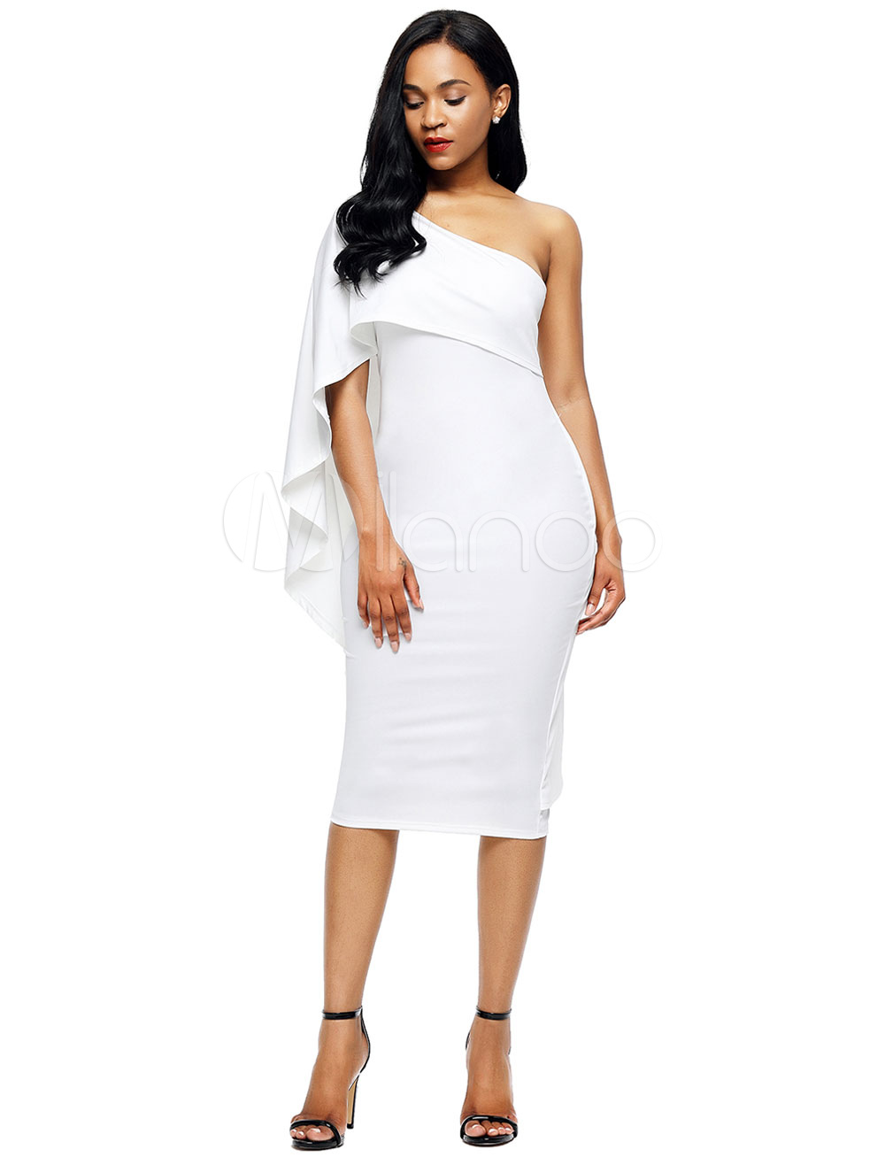 White Bodycon Dress One Shoulder Ruffles Sexy Women's Party Dresses (Women\\'s Clothing Bodycon Dresses) photo