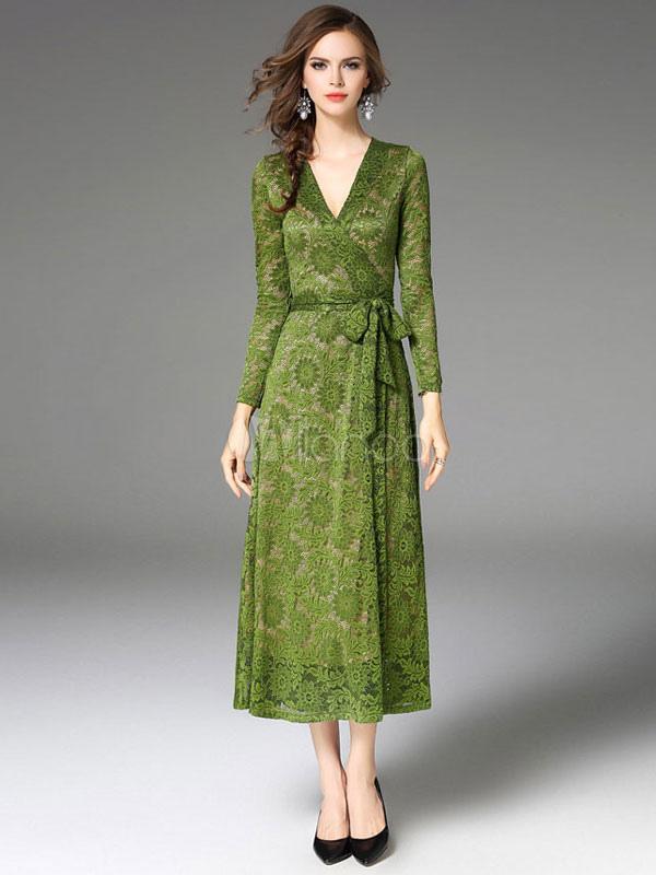 Green Long Dress V Neck Long Sleeve Women's Lace Dresses (Women\\'s Clothing Maxi Dresses) photo