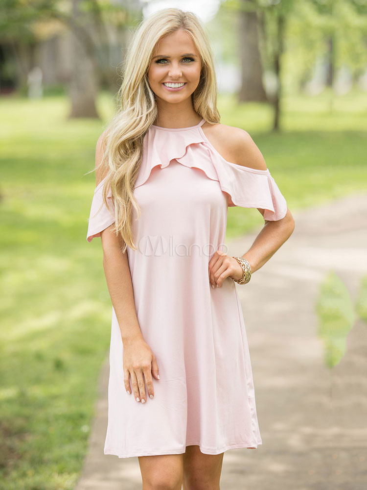 Pink Shift Dress Straps Short Sleeve Ruffles Cold Shoulder Women's Short Dresses (Women\\'s Clothing Shift Dresses) photo
