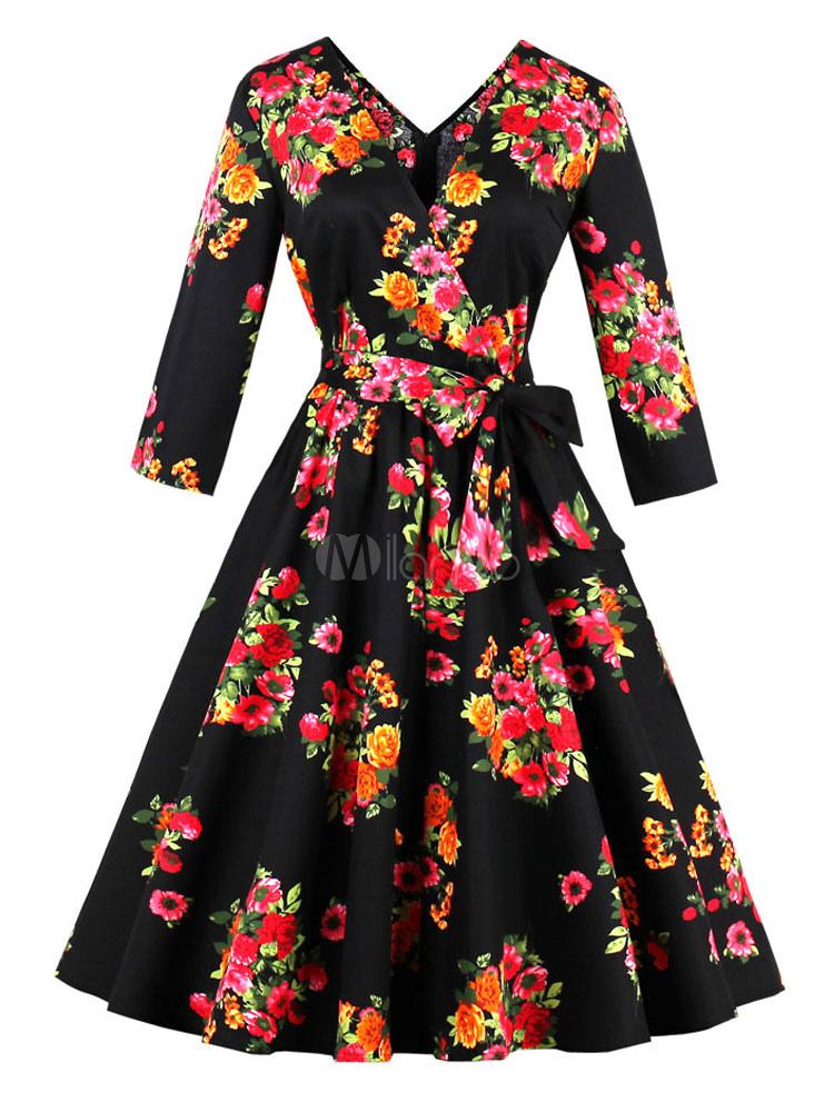 Floral Vintage Dress 1950s Women V Neck Long Sleeve Swing Dress (Women\\'s Clothing Vintage Dresses) photo