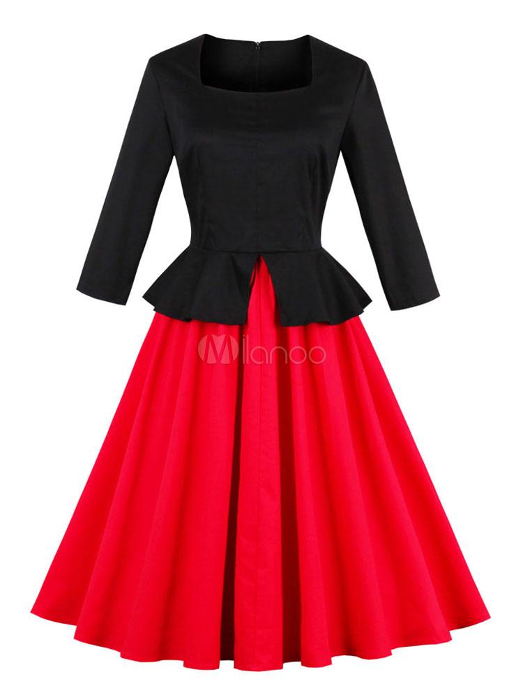 Red Vintage Dresses 1950s Swing Dress Long Sleeve Square Neck Slit Two Tone Midi Dress For Women (Women\\'s Clothing) photo