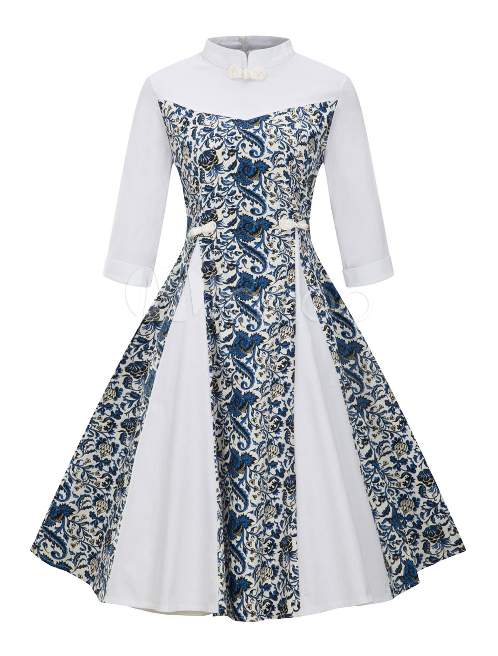 White Vintage Dresses Stand Collar Long Sleeve Chinese Style Floral Print A Line Midi Dress For Women (Women\\'s Clothing) photo