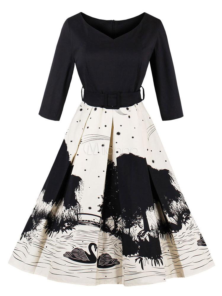 Black Vintage Dresses 1950s V Neck Long Sleeve Printed Swing Dress For Women (Women\\'s Clothing) photo