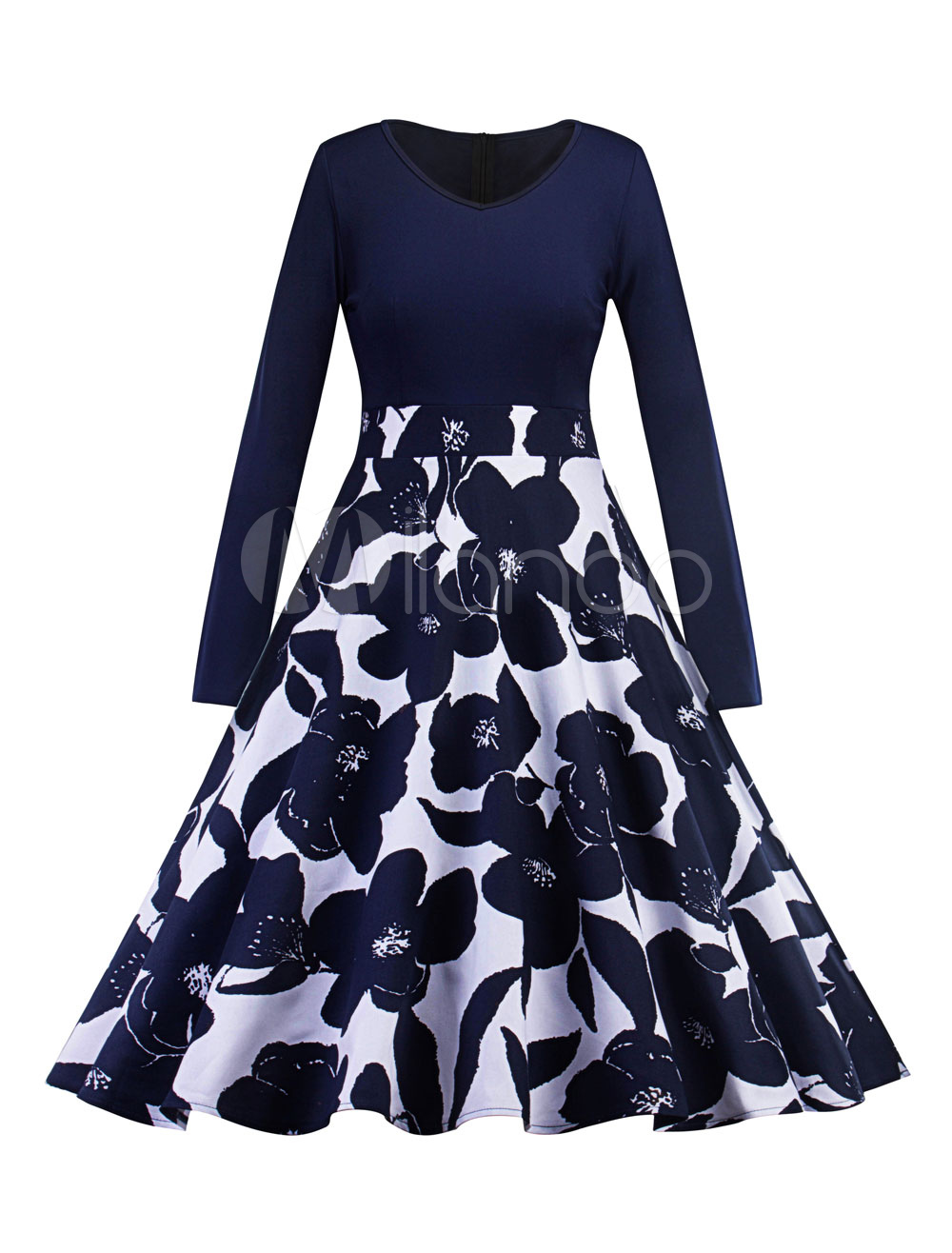 Women Vintage Dress 1950s Floral Swing Dresses Long Sleeve Navy Spring Dress (Women\\'s Clothing Vintage Dresses) photo