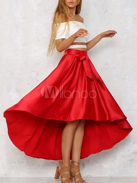 Red Long Skirt High Low Pleated Skirts For Women thumbnail