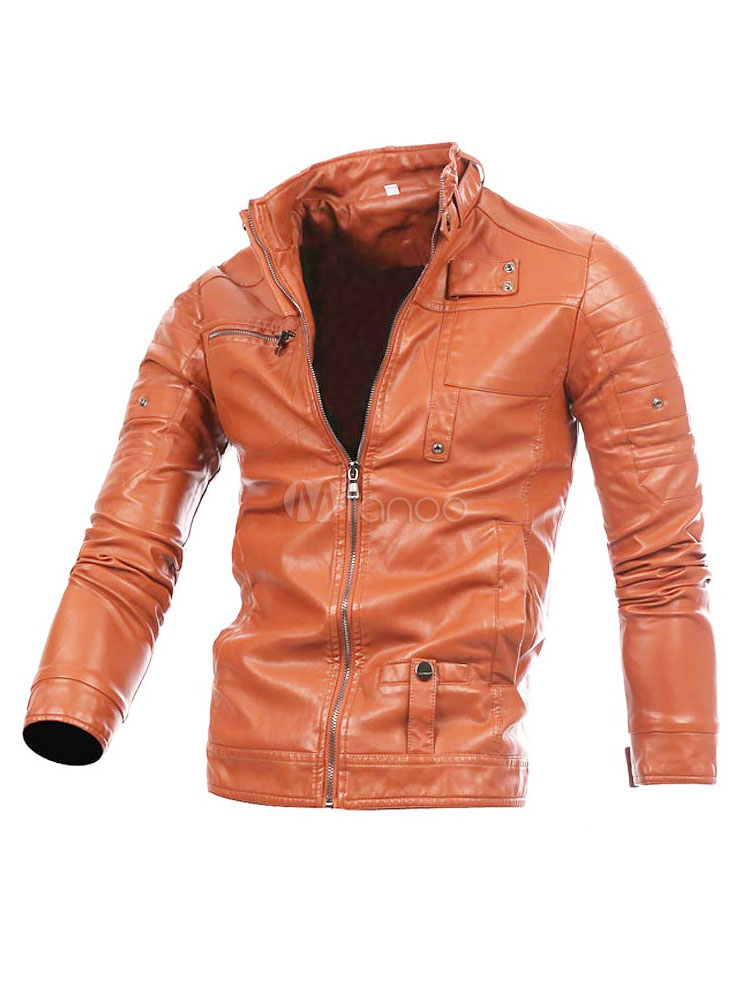 Men's Leather Jacket Light Brown Stand Collar Short Regular Fit Moto Jackets thumbnail