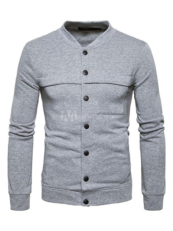Men's Short Jackets Stand Collar Long Sleeve Regular Fit Cotton Jacket thumbnail