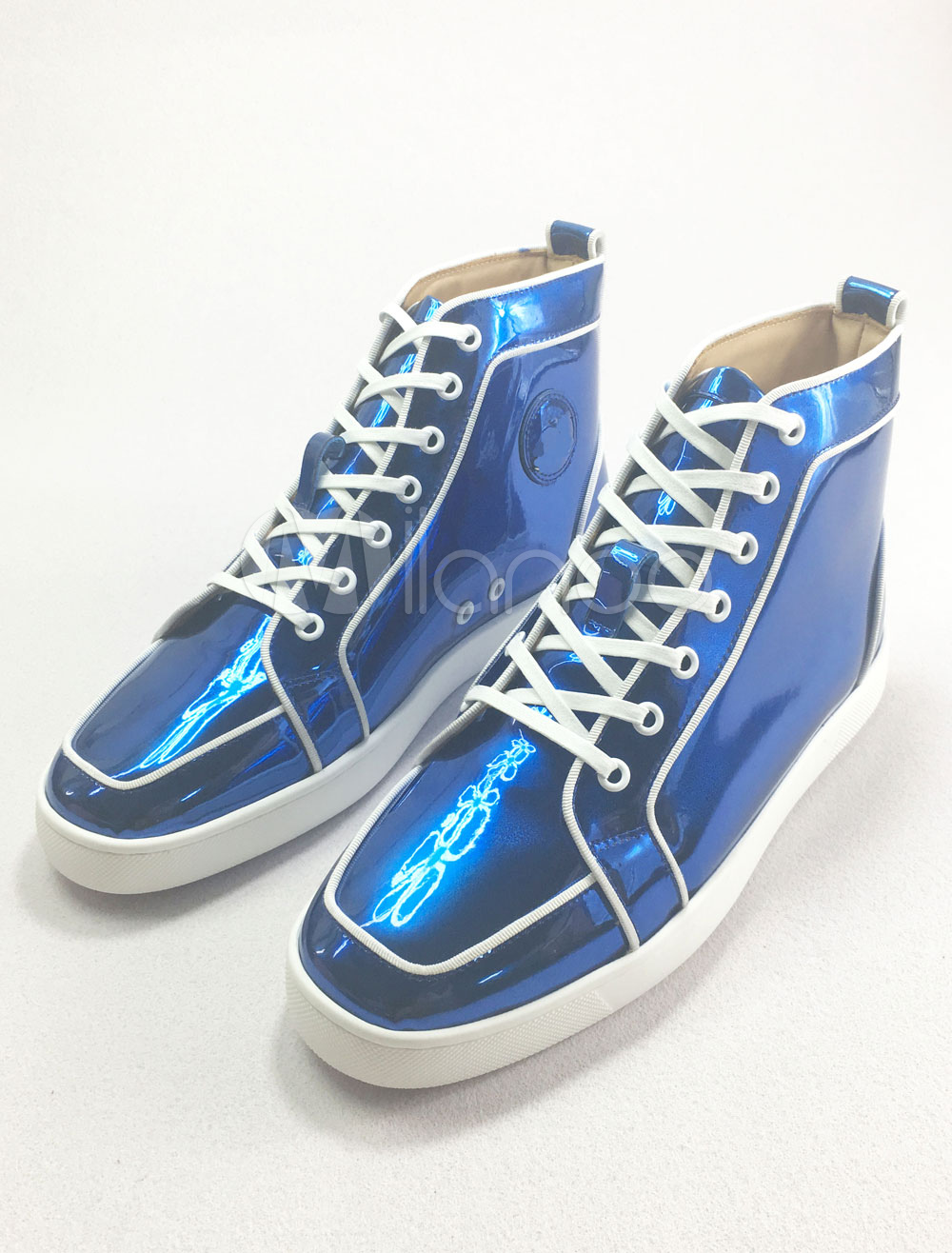 Men's Blue Sneakers Leather Round Toe Lace Up High Top Skate Shoes thumbnail