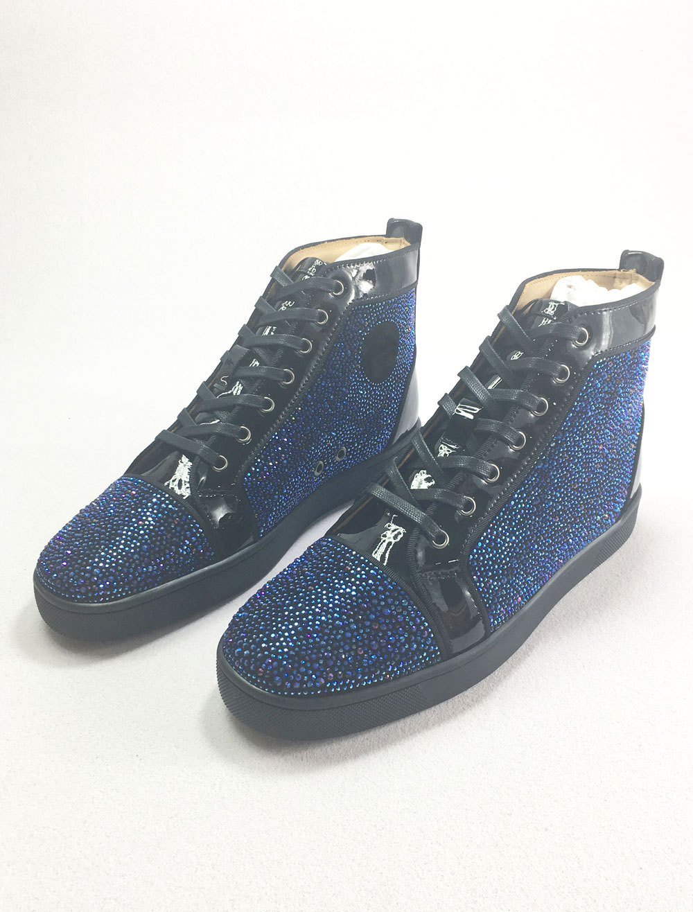 Blue Skate Shoes Leather Men's Round Toe Lace Up Rhinestones High Top Sneakers thumbnail
