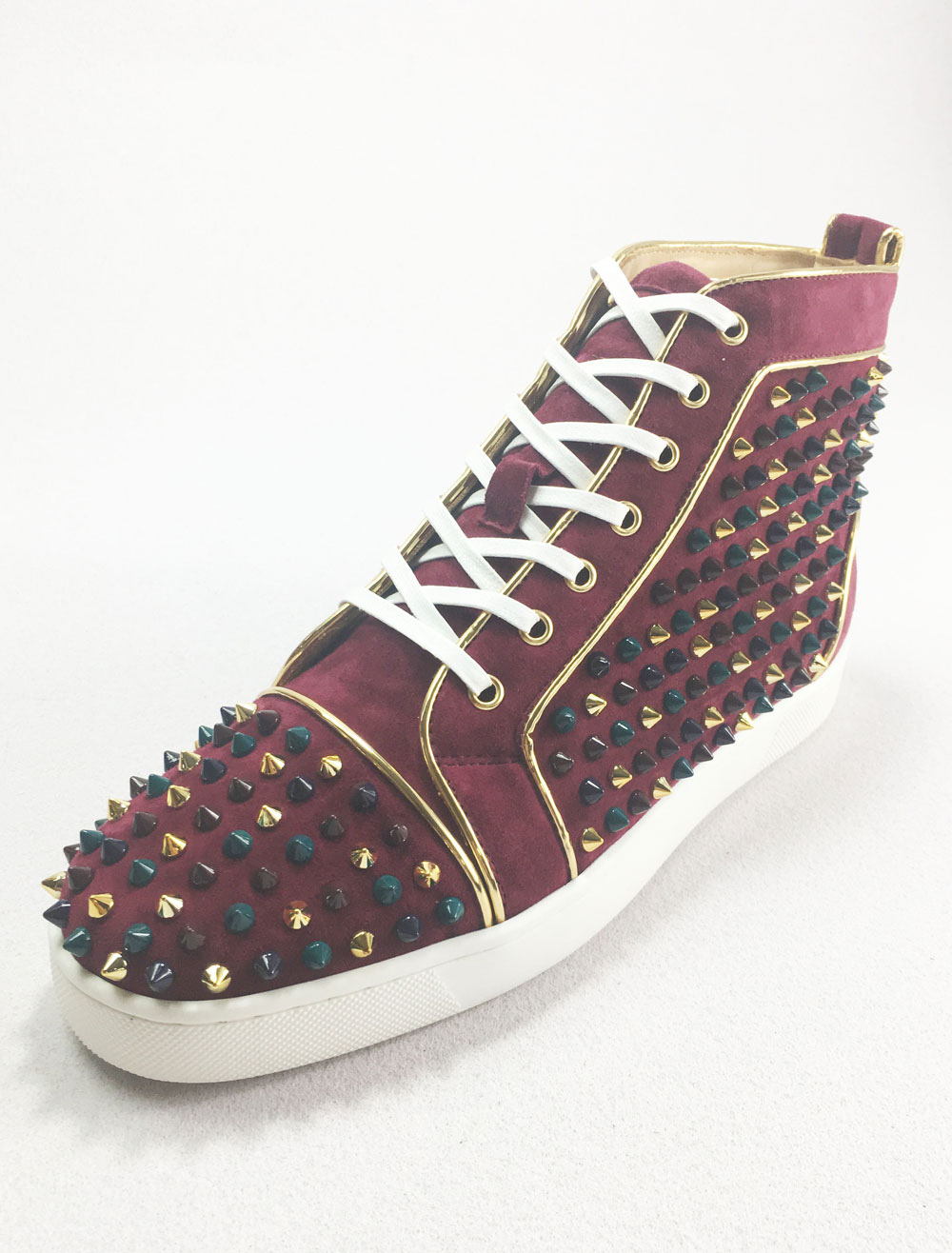 High Top Sneakers Leather Burgundy Round Toe Lace Up Rivets Spike Shoes thumbnail