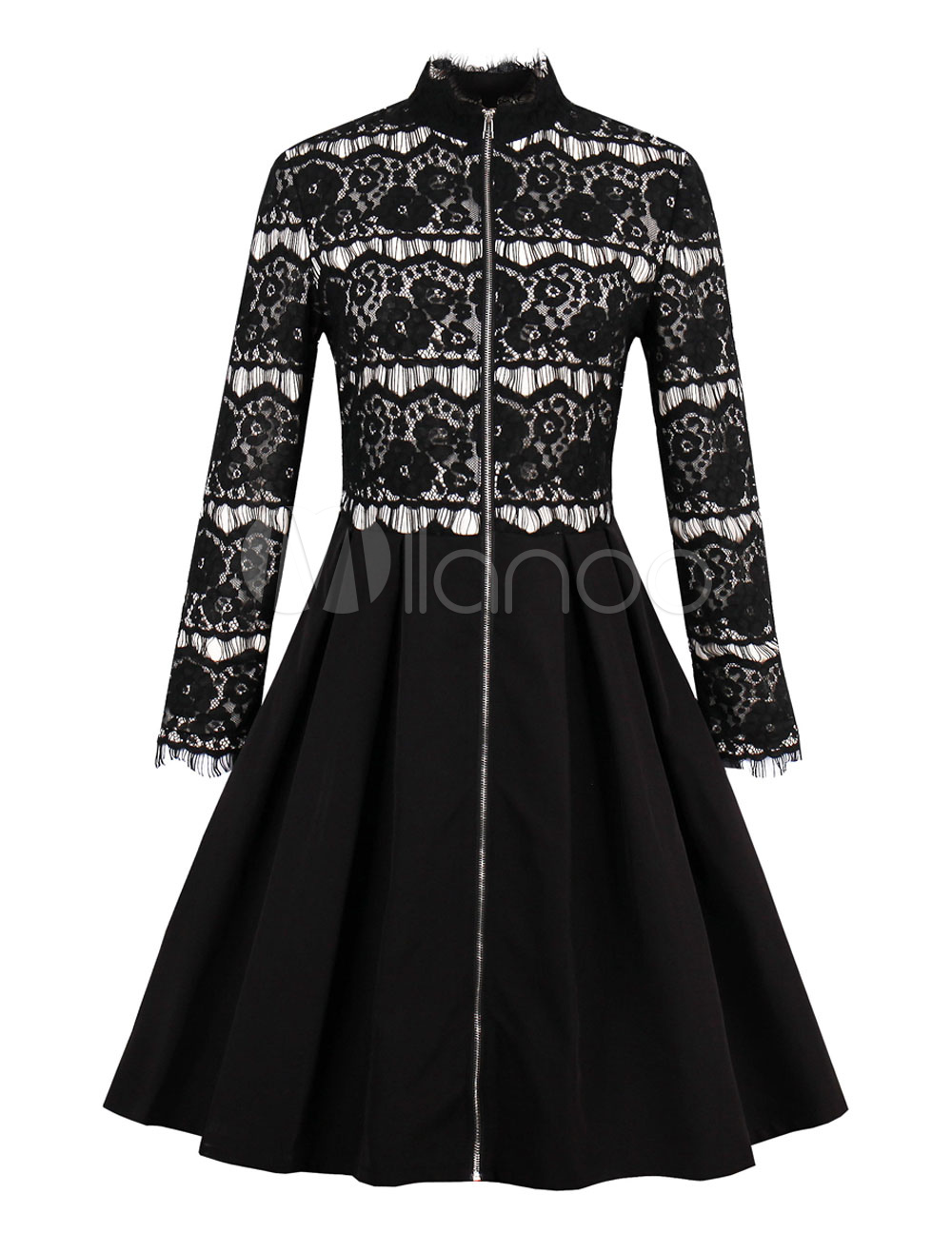 Lace Vintage Dress High Collar Long Sleeve Pleated Flare Dress (Women\\'s Clothing Vintage Dresses) photo