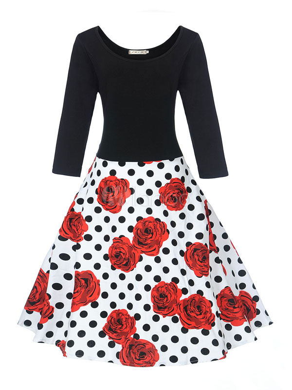Cotton Vintage Dress Rose Print Round Neck Long Sleeve Shaping Pleated Flare Dress (Women\\'s Clothing Vintage Dresses) photo