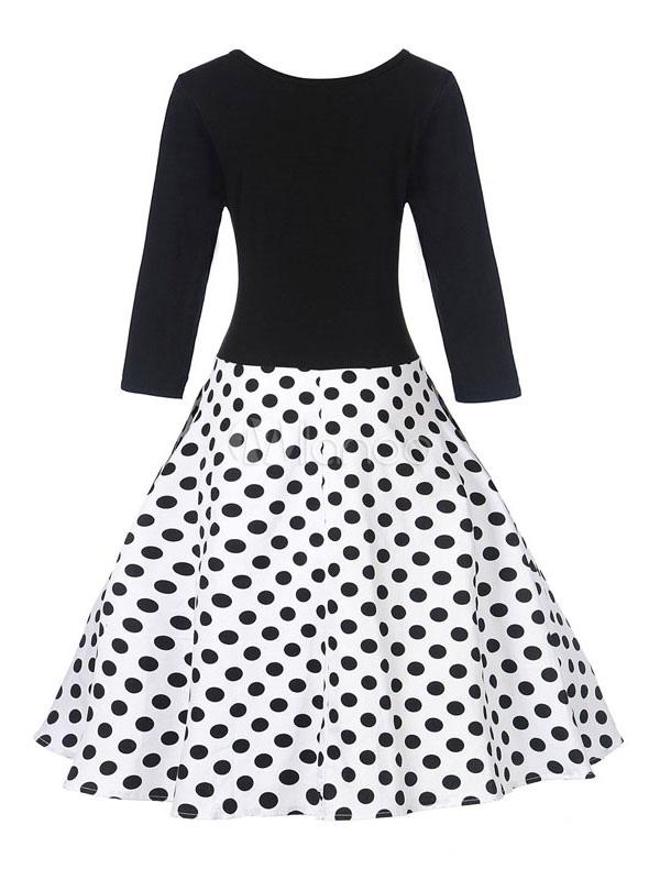 Cotton Vintage Dress Polka Dot Round Neck Long Sleeve Pleated Flare Dress (Women\\'s Clothing Vintage Dresses) photo