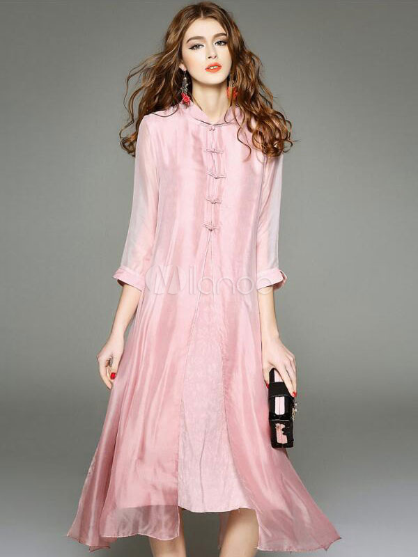 Silk Long Dress Stand Collar 3/4 Length Sleeve Chinese Knot Pleated Layered Women's Elegant Pink Dress (Women\\'s Clothing Maxi Dresses) photo