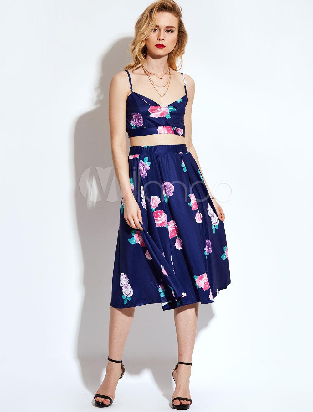 Women Skirts Set Boho Deep Blue Straps Sleeveless Floral Print Crop Top With Long Skirt thumbnail
