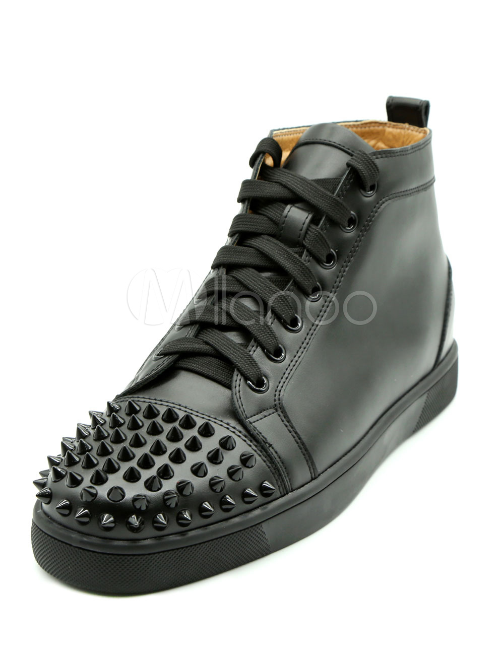 Men's Black Sneakers Leather Round Toe Lace Up Rivets High Top Skate Shoes thumbnail