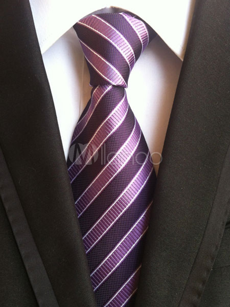 Men's Purple Tie Striped Dress Ties thumbnail