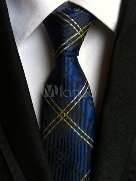Deep Blue Tie Checkered Dress Ties For Men thumbnail