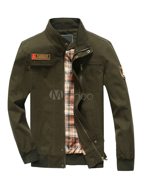 Hunter Green Jackets Men's Stand Collar Long Sleeve Zip Up Short Jacket thumbnail