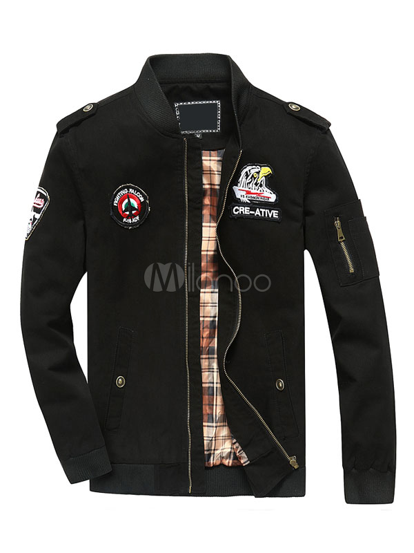Men's Black Jackets Stand Collar Long Sleeve Printed Regular Fit Short Jacket thumbnail