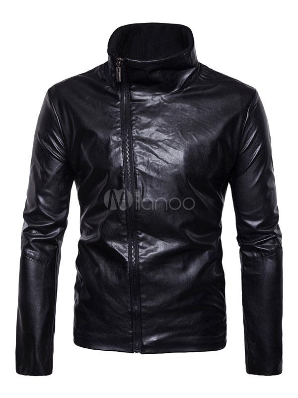 Black Moto Jacket Long Sleeve Stand Collar Regular Fit PU Jackets For Men thumbnail