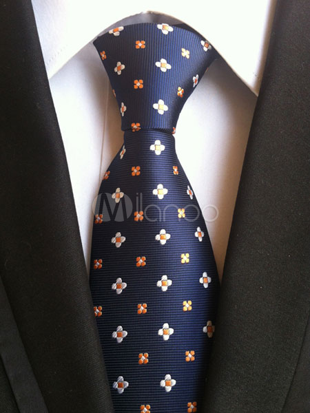Deep Blue Ties Flowers Embroidered Polyester Chic Neck Tie For Men thumbnail