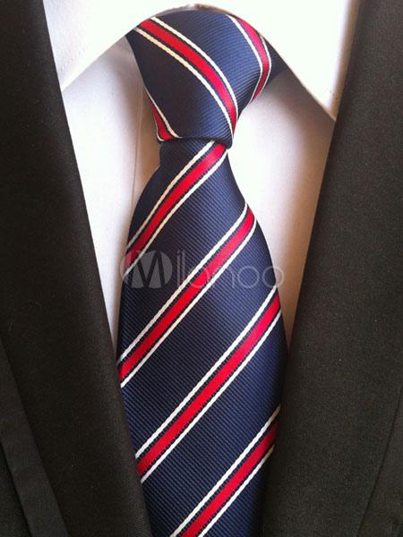 Deep Blue Ties Men's Striped Color Block Neck Tie thumbnail