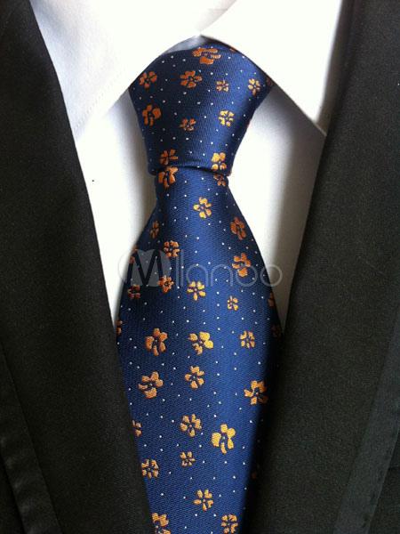 Deep Blue Ties Men's Flowers Jacquard Neck Tie thumbnail