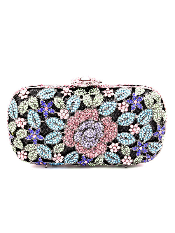 Purple Wedding Purse Rhinestones Beaded Bridal Clutch Bags Party Evening Handbags photo