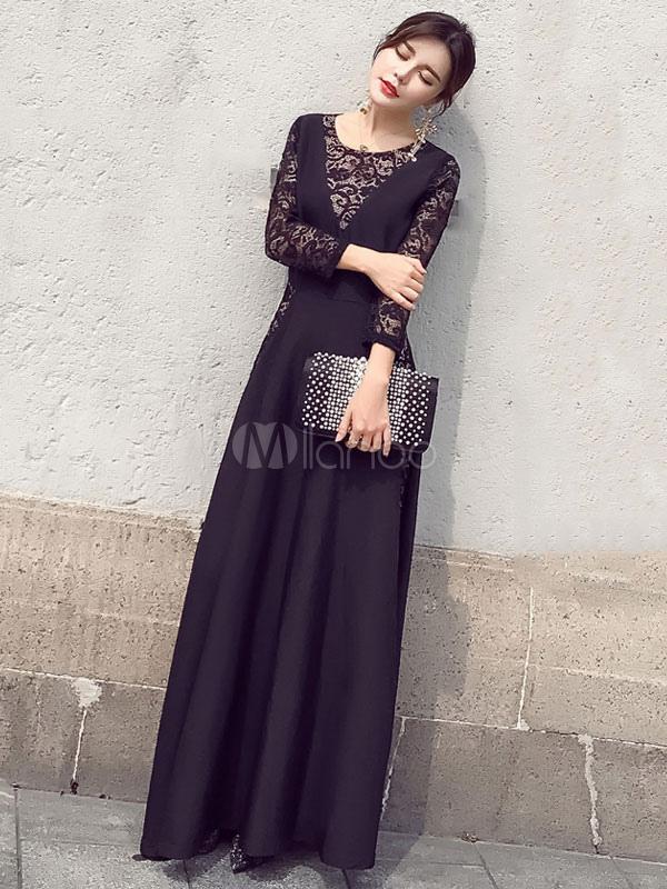 Black Maxi Dress Lace Illusion Sleeve Round Neck Pleated Long Dress (Women\\'s Clothing Maxi Dresses) photo