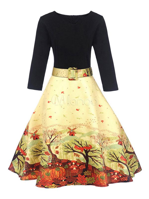 Women Vintage Dresses 1950s V Neck Long Sleeve Printed A Line Swing Dress (Women\\'s Clothing) photo