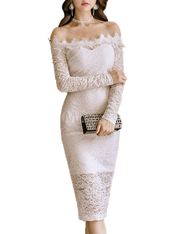 White Lace Dress Off The Shoulder Long Sleeve Semi Sheer Slit Sexy Bodycon Dress (Women\\'s Clothing Lace Dresses) photo