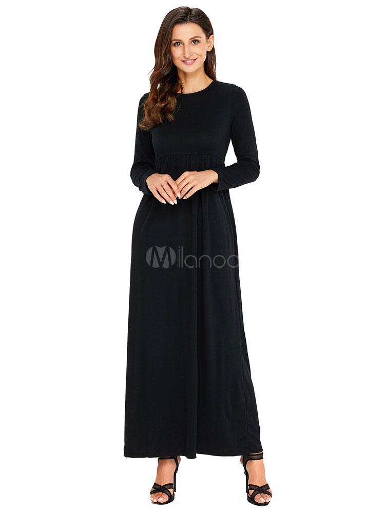 Black Maxi Dress Round Neck Women Long Sleeve Dresses (Women\\'s Clothing Maxi Dresses) photo