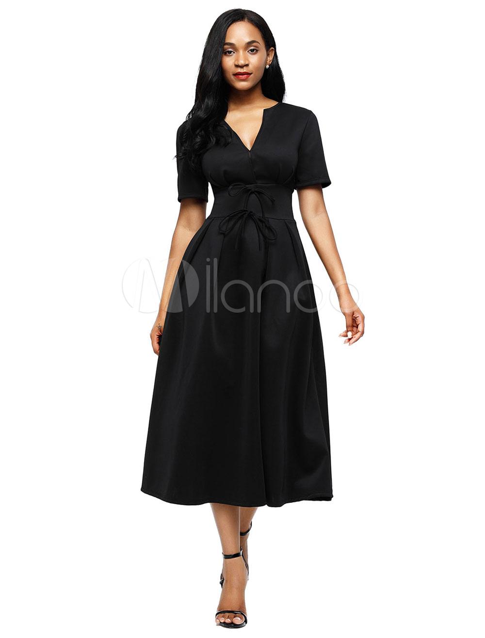White Maxi Dress V Neck Short Sleeve Skater Dress For Women (Women\\'s Clothing Skater Dresses) photo