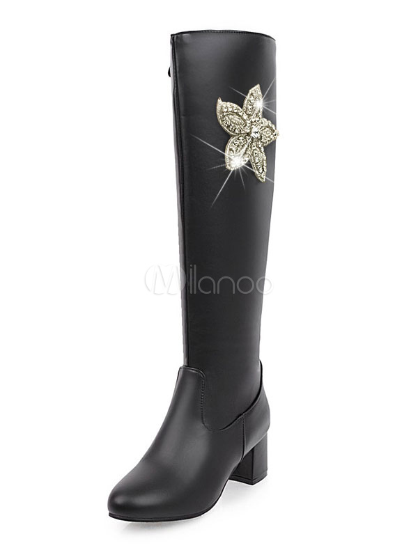 Winter Women Boots PU Upper Floral Rhinestones Round Toe Chunky Heel Knee High Boots thumbnail