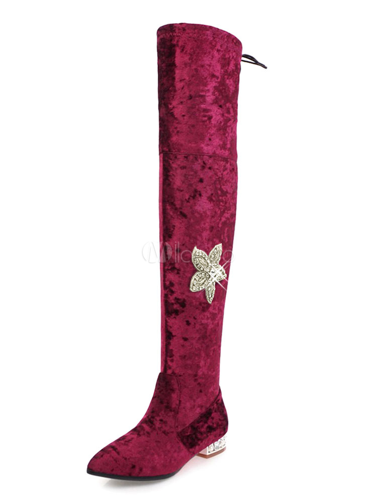 Women Boots Winter Pointed Toe Zipper Floral Rhinestones Corduroy Burgundy Thigh High Boots thumbnail