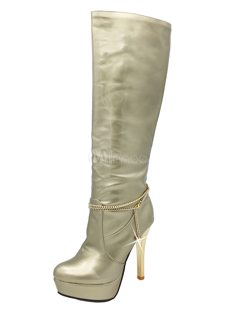 Knee High Boot Patent Leather Chain Stiletto Platform Light Gold Women Boot thumbnail