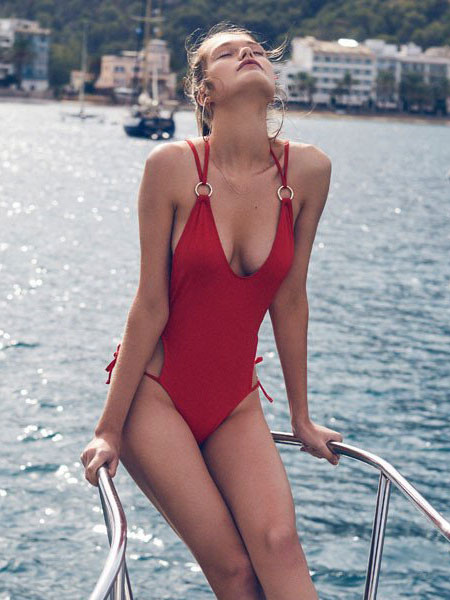 One Piece Swimsuit Red Sexy Women Metal Ring Plunging Beach Bathing Suit thumbnail