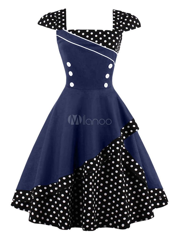 Women Vintage Dress Black Polka Dot Button 1950s Retro Summer Dress (Women\\'s Clothing Vintage Dresses) photo