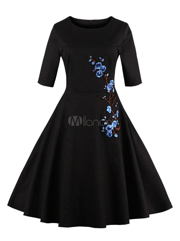 Vintage Dress Women Black Floral Embroidered Sequin Half Sleeve Retro Dress (Women\\'s Clothing Vintage Dresses) photo