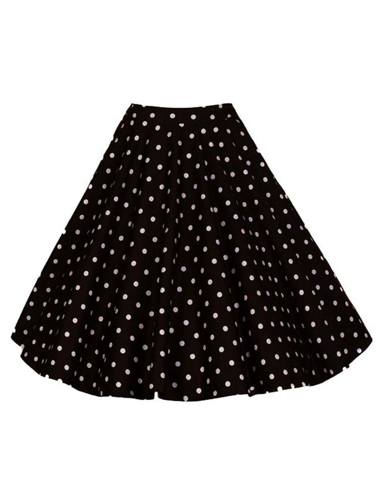 Vintage Short Skirt Polka Dot Print High Waisted Women Skirt thumbnail