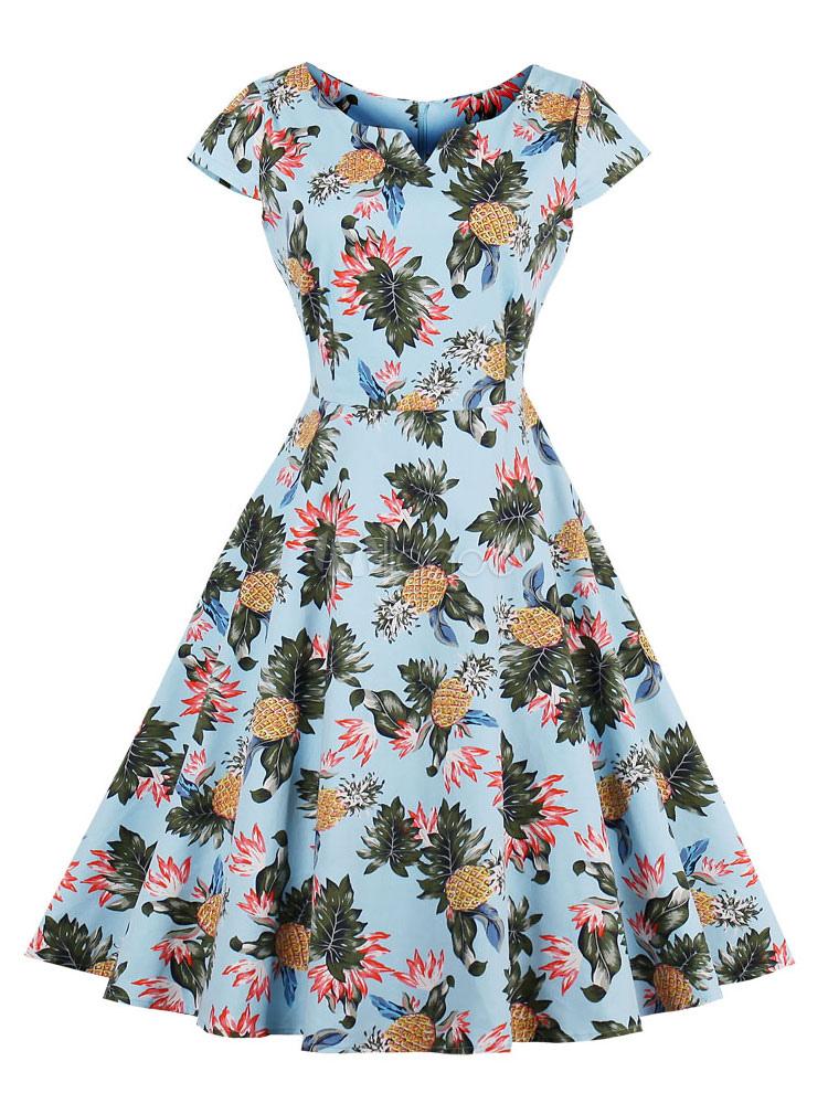 Vintage Dress Women 1950s Printed Short Sleeve Retro Summer Dress (Women\\'s Clothing Vintage Dresses) photo
