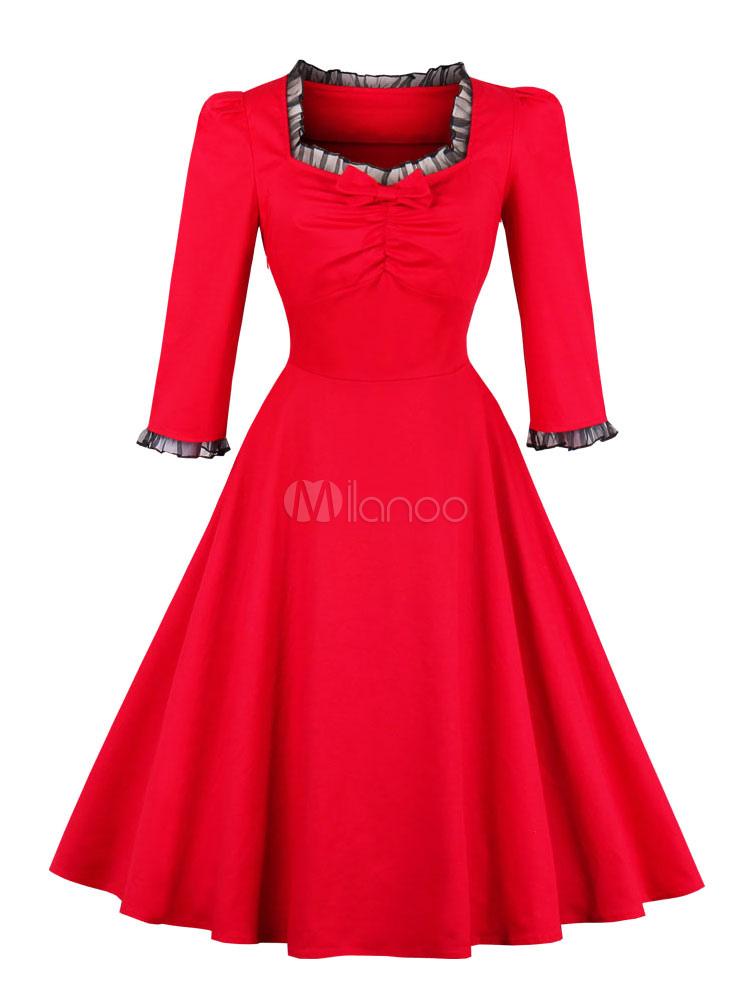 Women Vintage Dress Red 1950s Three Quarter Sleeve Ruched Retro Dress (Women\\'s Clothing Vintage Dresses) photo