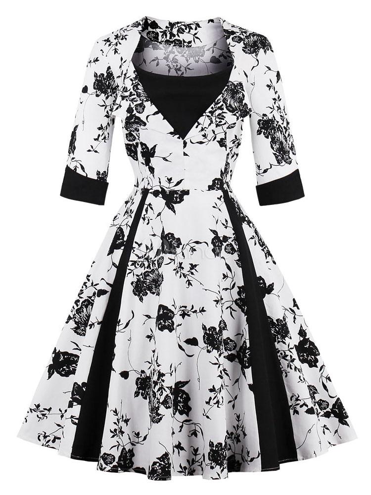Floral Vintage Dress 1950s Long Sleeve Swing Dress For Women (Women\\'s Clothing Vintage Dresses) photo