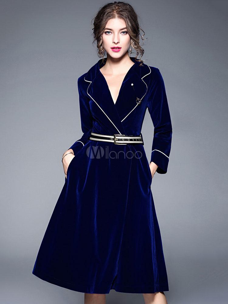 Shirt Dress Women Vintage 1950s Velour Long Sleeve Royal Blue Spring Midi Dress (Women\\'s Clothing Vintage Dresses) photo