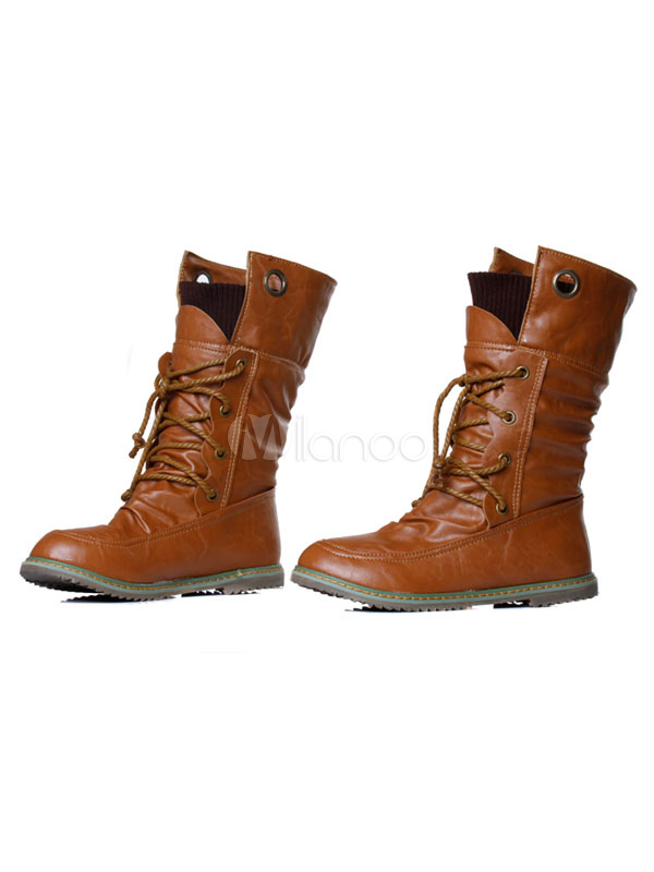 Brown Mid Calf Boots Women Boots Round Toe Lace Up Winter Boots thumbnail