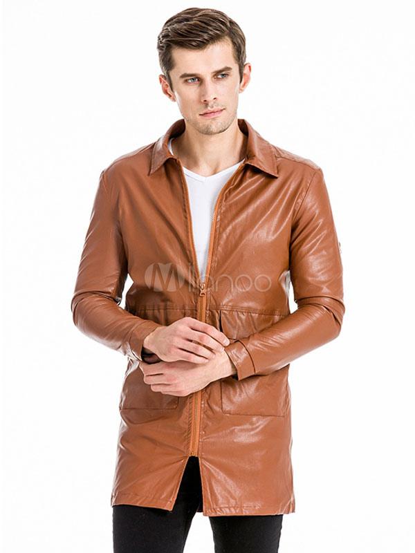 Brown Leather Jacket Men Jacket Turndown Collar Long Sleeve Front Zip Moto Jacket thumbnail