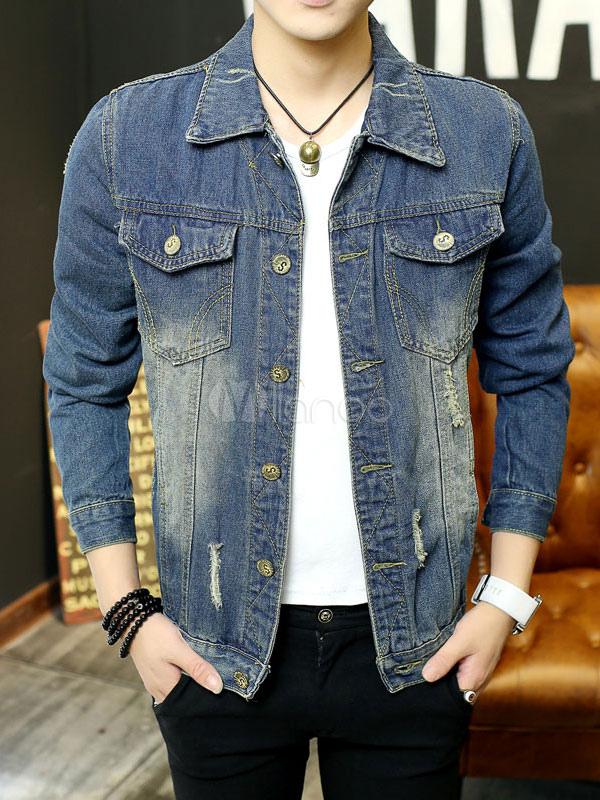Men Denim Jacket Blue Short Jacket Turndown Collar Long Sleeve Ripped Spring Jacket thumbnail