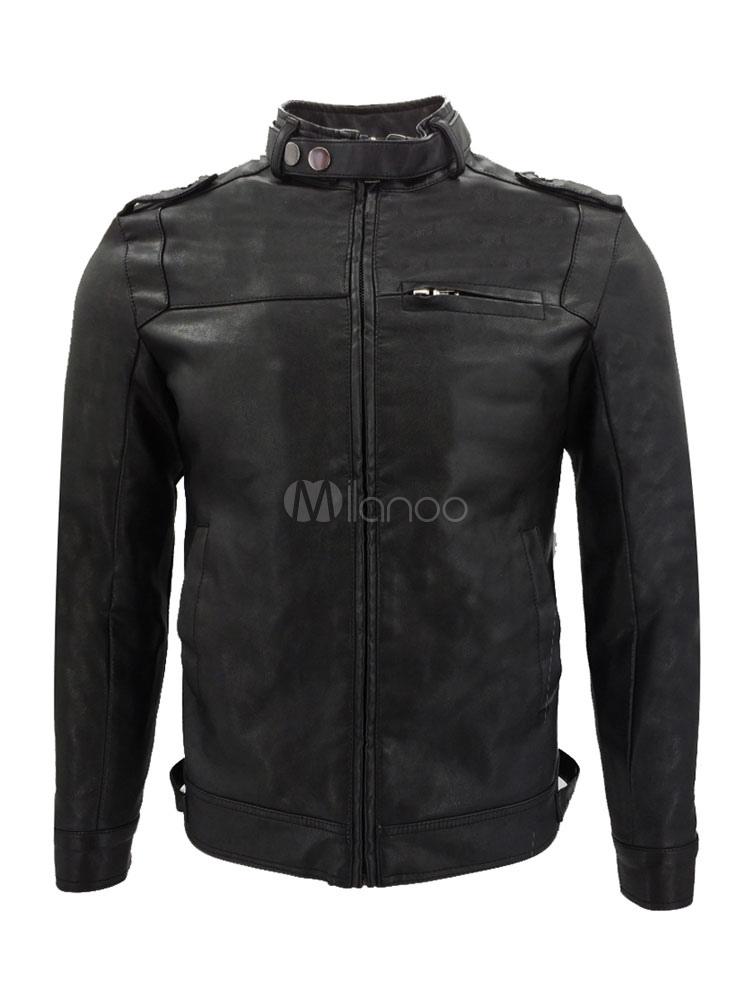 Brown Leather Jacket Men Motorcycle Jacket Stand Collar Long Sleeve Zip Up Short Jacket thumbnail