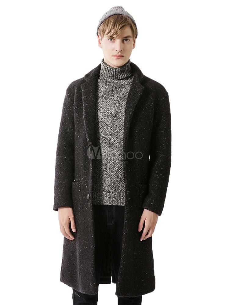 Black Men Coat Wool Turndown Collar Long Sleeve Single Breasted Long Overcoat thumbnail
